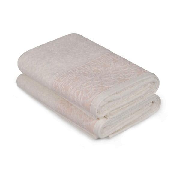Sada dvou bílých ručníků s lososovým detailem Romantica, 90x50cm
