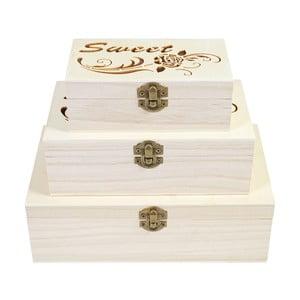 Sada 3 dřevěných boxů Mendler Shabby Sweet