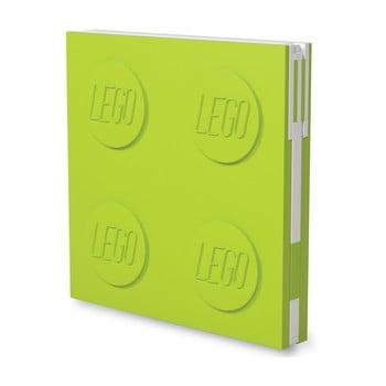 Jurnal pătrat cu pix cu gel LEGO®, 15,9 x 15,9 cm, verde deschis imagine