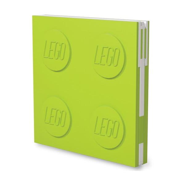 Jurnal pătrat cu pix cu gel LEGO®, 15,9 x 15,9 cm, verde deschis