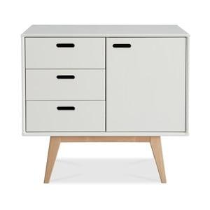 Comodă fabricată manual din lemn de mesteacăn Kiteen Alanko, 75 x 81 cm, alb