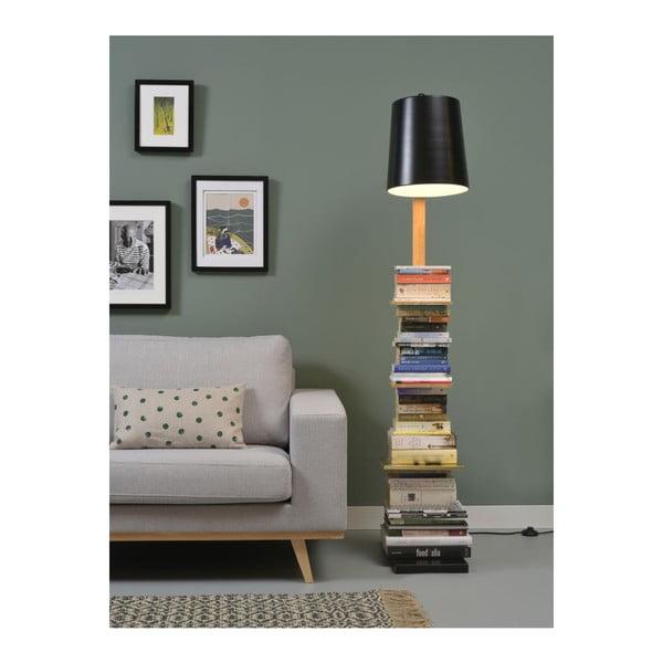 Volně stojící lampa s černým stínidlem a policemi Citylights Cambridge, výška 168 cm