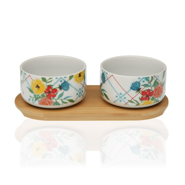 Fiori Viva 2 db porcelán tálka, bambusz tálcával - Versa