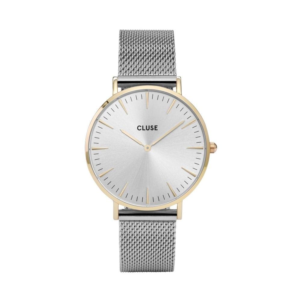 Dámské hodinky z nerezové oceli ve stříbrné barvě s s detaily ve zlaté  barvě Cluse La Bohéme 2d0052021d