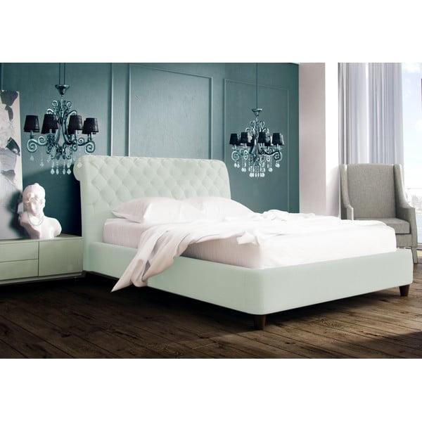 Pastelově zelená postel s přírodními nohami Vivonita Allon,180x200cm