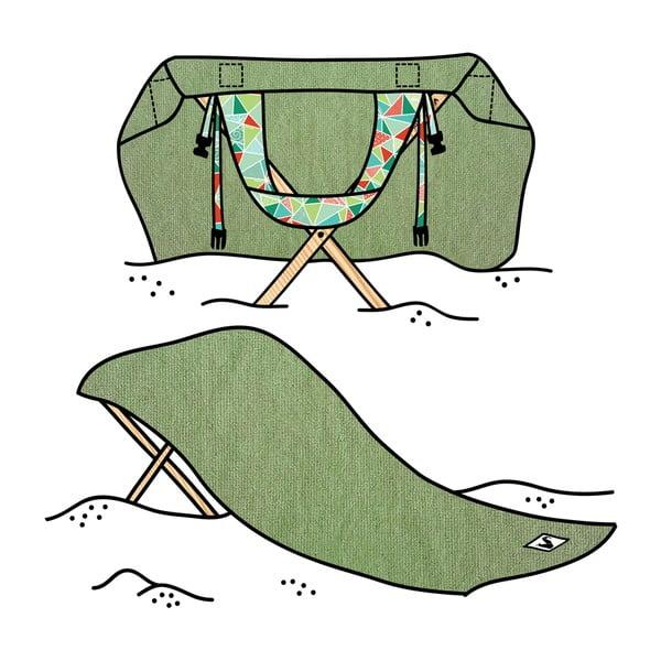 Skládací plážové lehátko a osuška v jednom Sun Seat Olive Geo