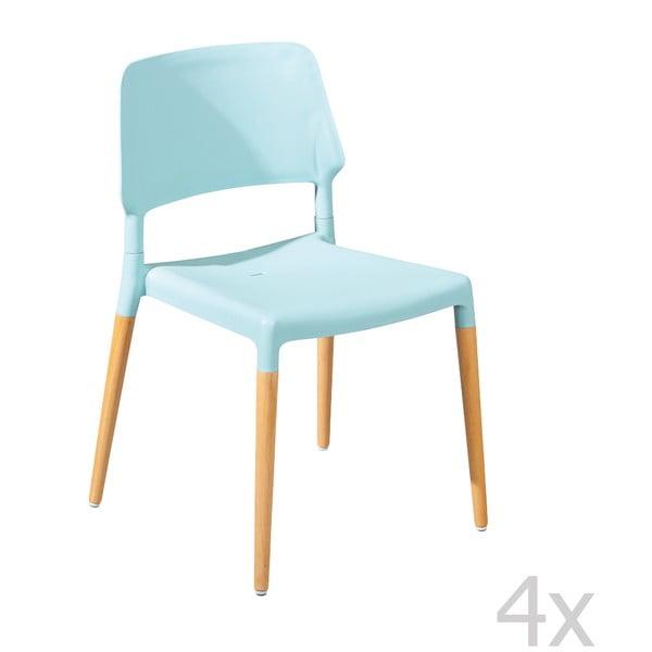Sada 4 modrých jídelních židlí 13Casa Molde
