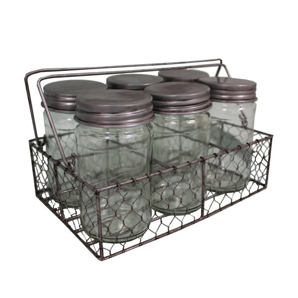 Košík se 6 sklenicemi Industry