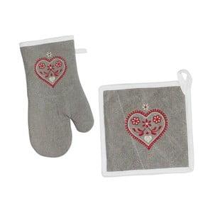 Kuchyňská rukavice a chňapka Grey Heart
