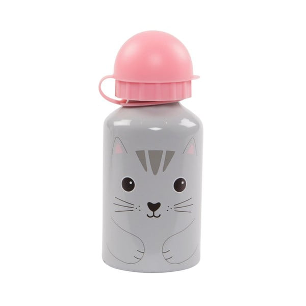 Sivo-ružová fľaša na vodu Sass & Belle Nori Cat