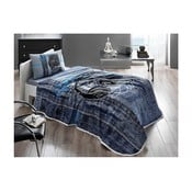 Set cuvertură, cearșaf și față de pernă din bumbac Listen V1 Blue, 160 x 230 cm