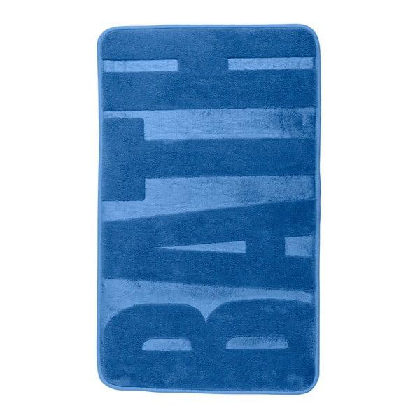 Modrá koupelnová předložka s paměťovou pěnou Wenko, 80x50cm