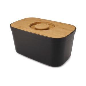 Černý chlebník s dřevěným víkem Joseph Joseph Bin