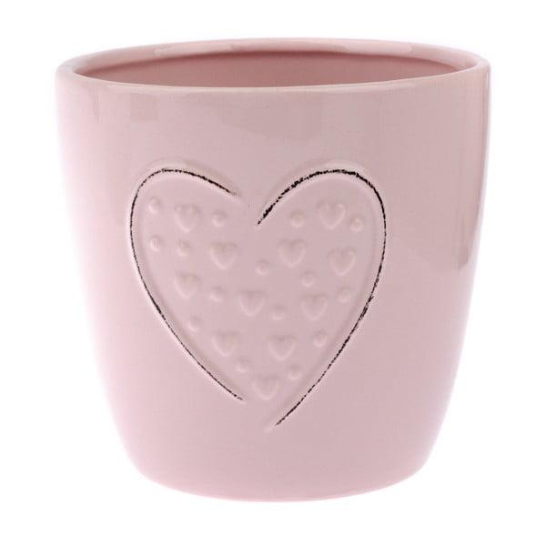 Różowa doniczka ceramiczna Dakls Hearts Dots, wys. 14,8 cm