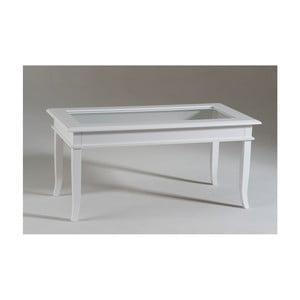 Bílý dřevěný konferenční stolek s prosklenou deskou Castagnetti Isabeau