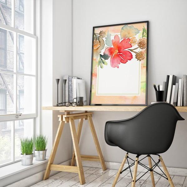 Plakát s květinou, bílo-růžové pozadí, 30 x 40 cm