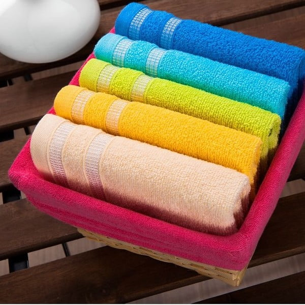 Sada 5 ručníků Fuchsia Basket, 30x50 cm
