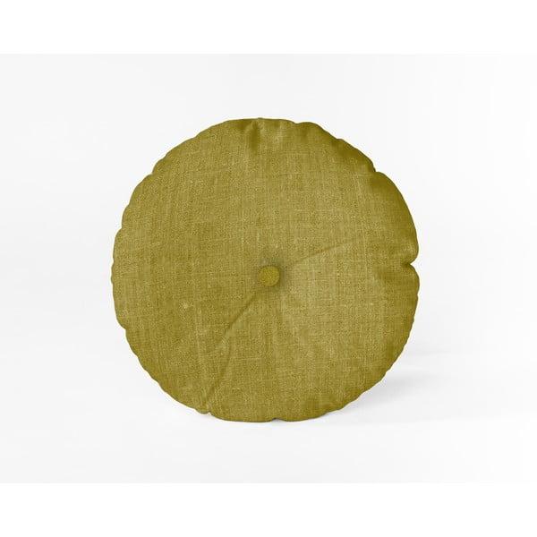Pernă Linen Couture Cojin Redondo Mustard, ⌀ 45 cm, galben muștar