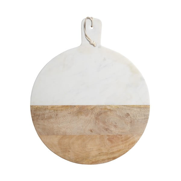 Prkénko z bílého mramoru a mangového dřeva Master Class,50cm