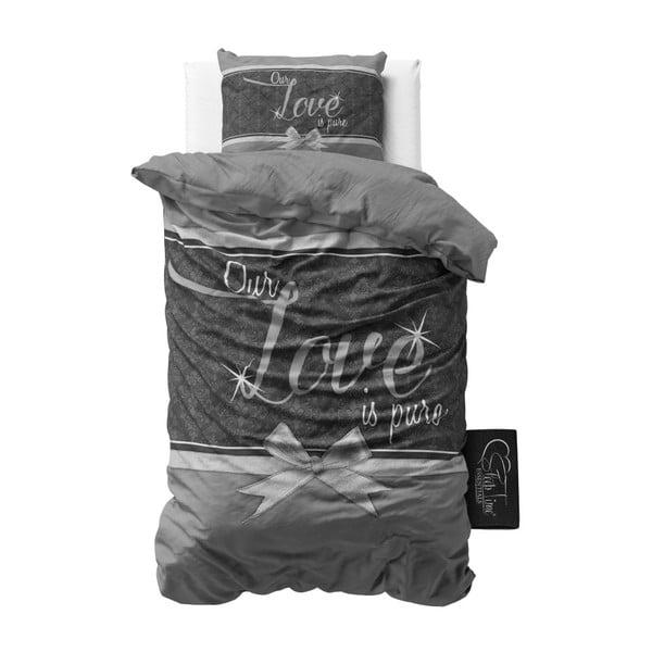 Lenjerie din bumbac, pat de o persoană Sleeptime Pure Love, 140 x 220 cm, gri