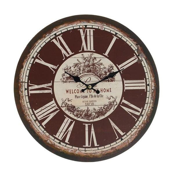 Nástěnné hodiny Brown Vintage, 34 cm