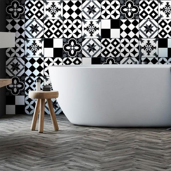Zestaw 60 naklejek ściennych Ambiance Wall Decal Cement Tiles Pinocito, 10x10 cm