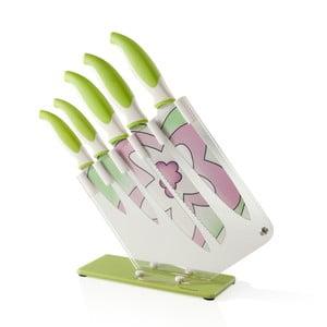 Barevné nože se stojanem, zelené