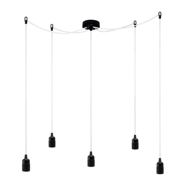Pět závěsných kabelů Uno, černá/bílá/černá