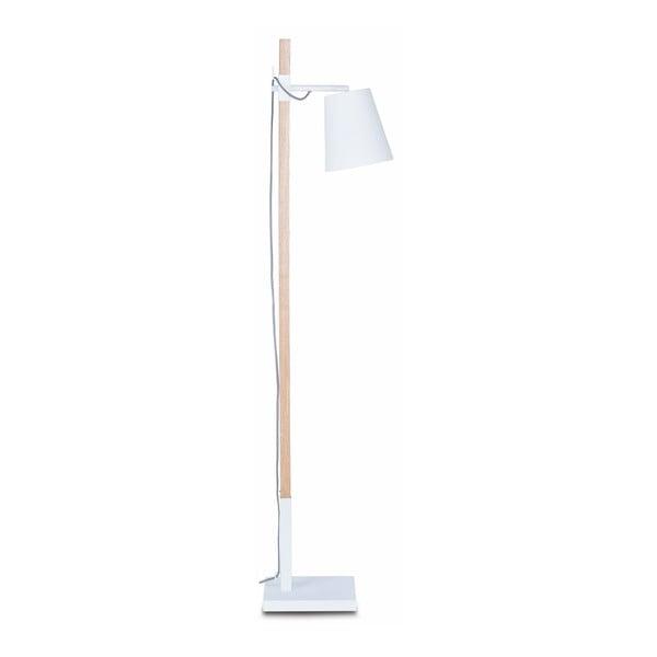 Bílá volně stojící lampa s konstrukcí z jasanu Citylights Sydney