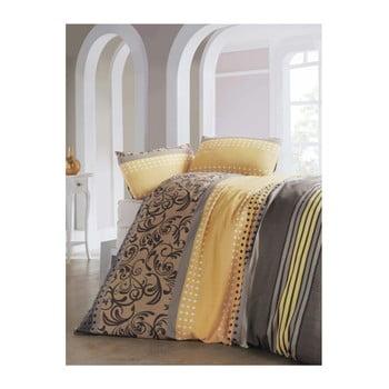 Lenjerie de pat și cearșaf Miranda, 160 x 220 cm, galben de la Eponj Home
