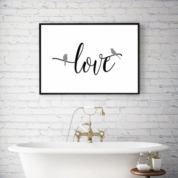 Plakát v dřevěném rámu Simply love, 38x28 cm
