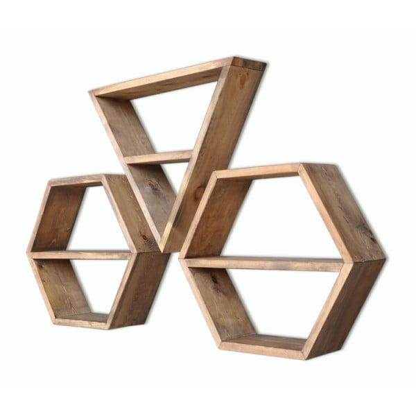 Set 3 rafturi din lemn Hexa