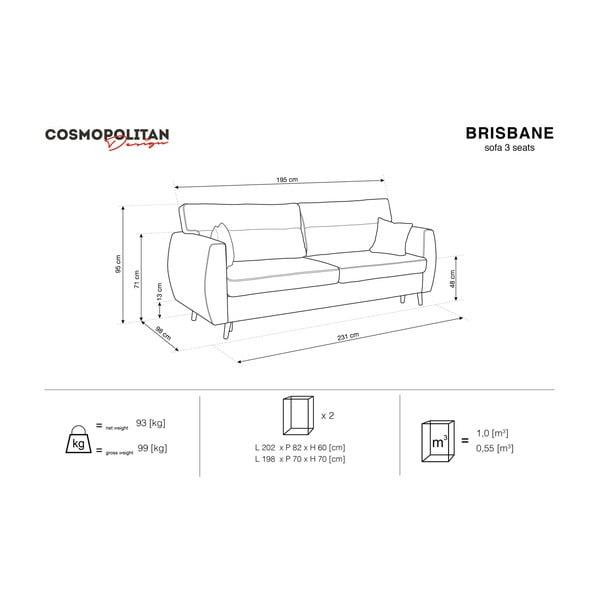 Fialová trojmístná rozkládací pohovka s úložným prostorem Cosmopolitan design Brisbane, 231x98x95cm