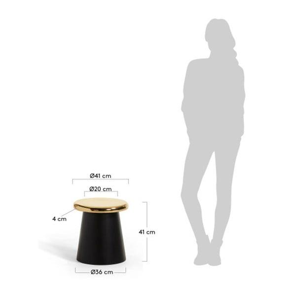 Černý příruční stolek s detaily ve zlaté barvě La Forma Phil