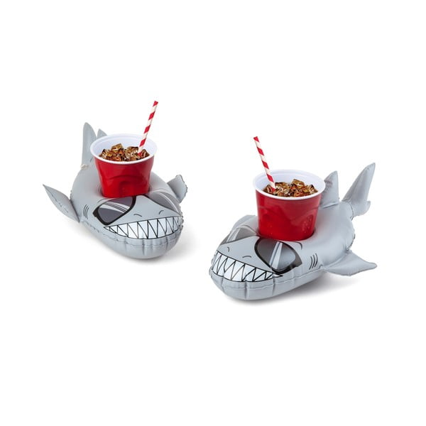 Zestaw 2 dmuchanych kół na napoje w kształcie rekinów Big Mouth Inc.