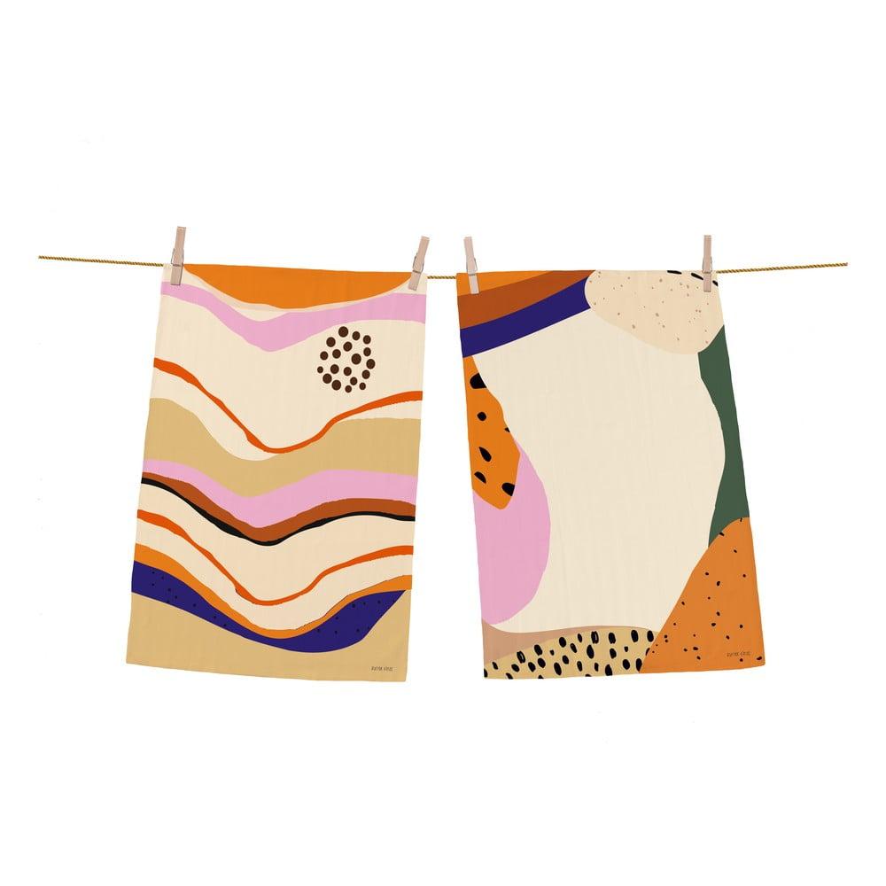 Sada 2 bavlněných kuchyňských utěrek Butter Kings Abstract Landscape Simple, 70 x 50 cm