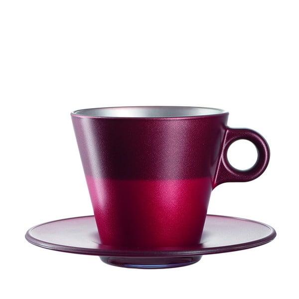 Červený metalický hrnek na cappuccino měnící barvu LEONARDO Ooh! Magico