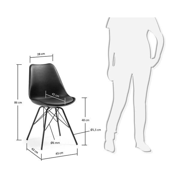 Černá židle s kovovým podnožím Lars