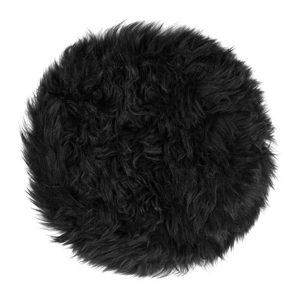 Černý podsedák z ovčí kožešiny na jídelní židli Royal Dream Zealand Round, ⌀ 70 cm