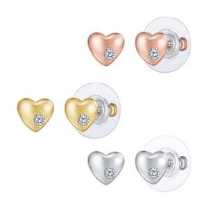 Sada 3 párů náušnic ve stříbrné, zlaté a růžovozlaté barvě Tassioni