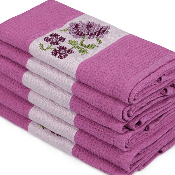 Sada 6 fialových ručníků z čisté bavlny Simplicity, 45 x 70 cm
