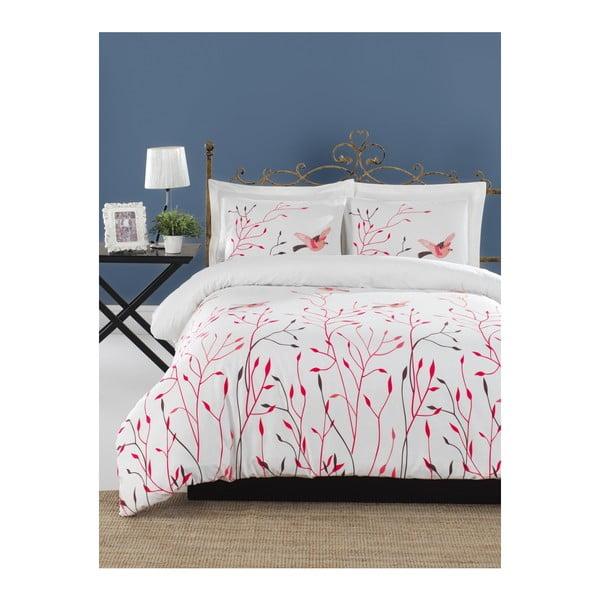 Lenjerie de pat cu cearșaf din bumbac ranforce, pentru pat dublu Mijolnir Fidella Pink, 160 x 220 cm