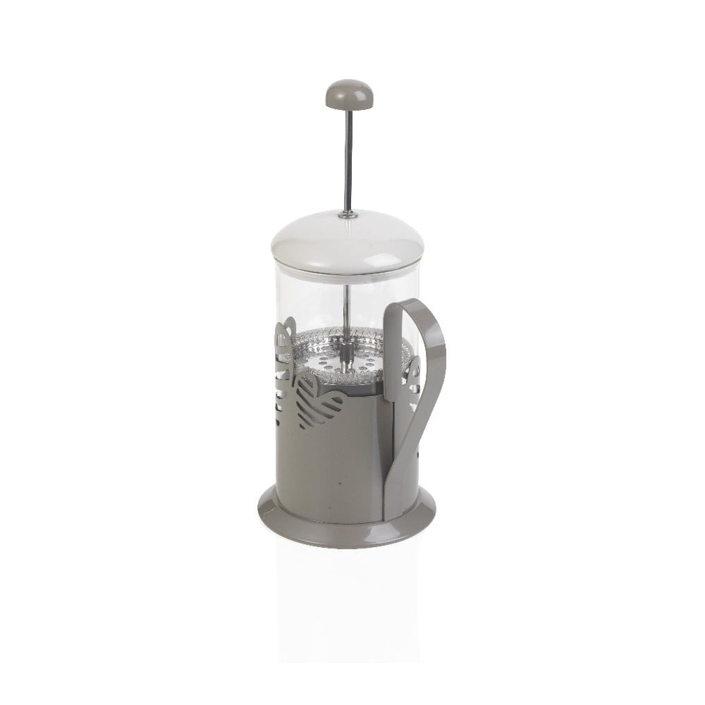 Šedý French Press na kávu či čaj Brandani Batticuore 600 ml