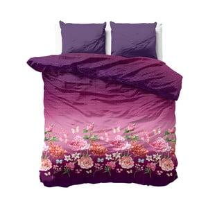 Růžovo-fialové povlečení z mikroperkálu Zensation Bright Flowers, 240x220 cm