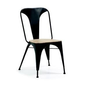 Černá židle s dřevěným sedákem La Forma Vita