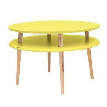 Masă de cafea cu picioare din lemn Ragaba UFO, Ø 70 cm, galben de la Ragaba