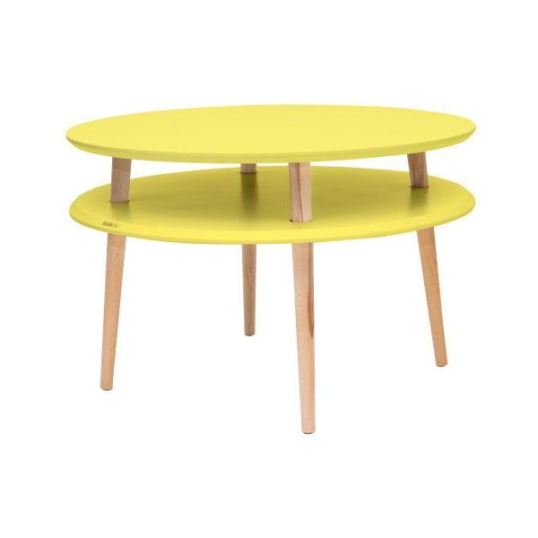 UFO sárga kávézó asztal natúr lábakkal, Ø 70 cm - Ragaba
