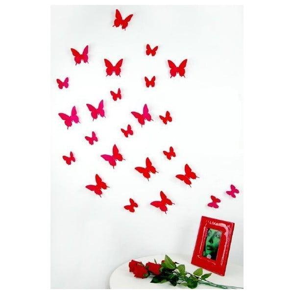 Sada 12 červených samolepek Ambiance Butterflies