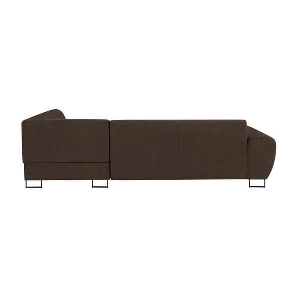Canapea extensibilă cu spațiu pentru depozitare Kooko Home XL Left Corner Sofa Puro, maro închis