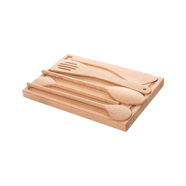 Prkénko s kuchyňskými nástroji Sola Basic Wood